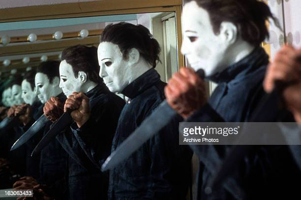 George P Wilbur holds a knife in a scene from the film 'Halloween 4 The Return Of Michael Myers' 1988