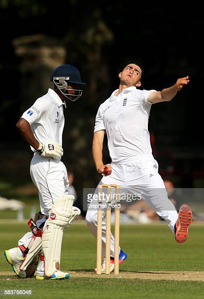 George Panayi of England bowls on day two during the match between England U19's and Sri Lanka U19's at the University Cricket Ground on July 27 2016...
