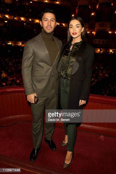 George Panayiotou and Amy Jackson attend 'La Boheme' at the English National Opera on January 29 2019 in London England