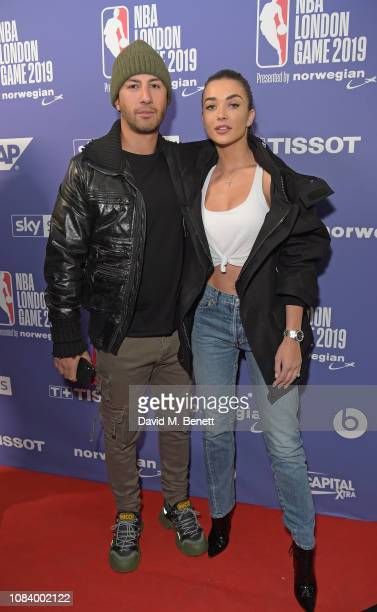 George Panayiotou and Amy Jackson attend the NBA London Game 2019 between the Washington Wizards and New York Knicks at The O2 Arena on January 17...