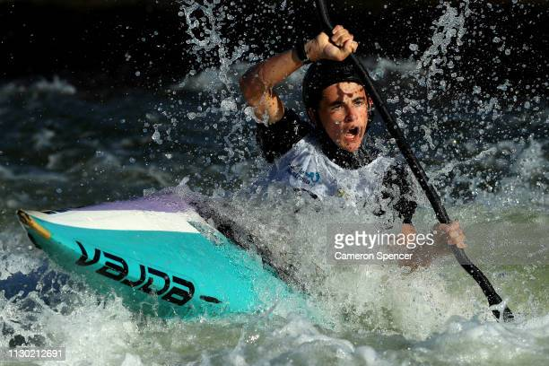 George Pankhurst of Australia competes in the K1 Men's Invitational during the 2019 Australian Canoe Slalom Open on February 17 2019 in Penrith...