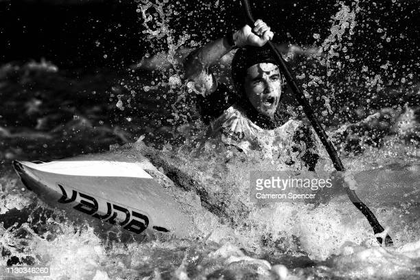 George Pankhurst of Australia competes in the K1 Men's Invitational during the 2019 Australian Canoe Slalom Open on February 17 2019 in Penrith...