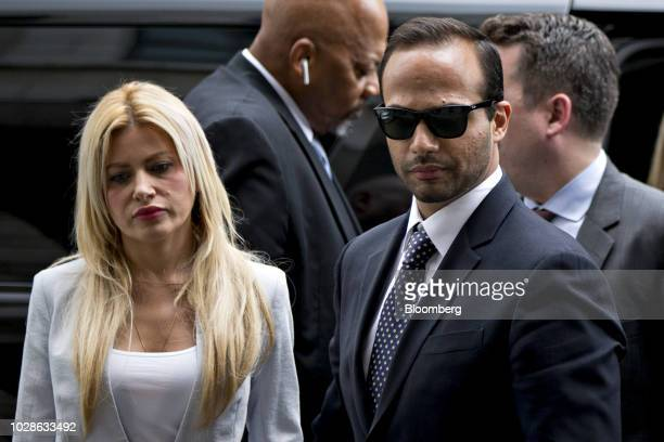 George Papadopoulos former campaign adviser for Donald Trump arrives for sentencing with his wife Simona Mangiante Papadopoulos left at federal court...