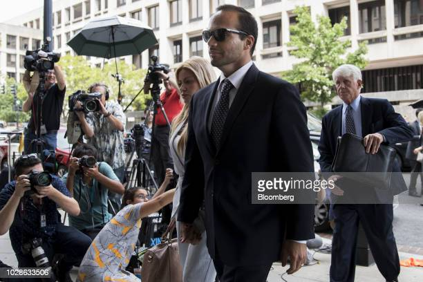 George Papadopoulos former campaign adviser for Donald Trump arrives for sentencing at federal court in Washington DC US on Friday Sept 7 2018...