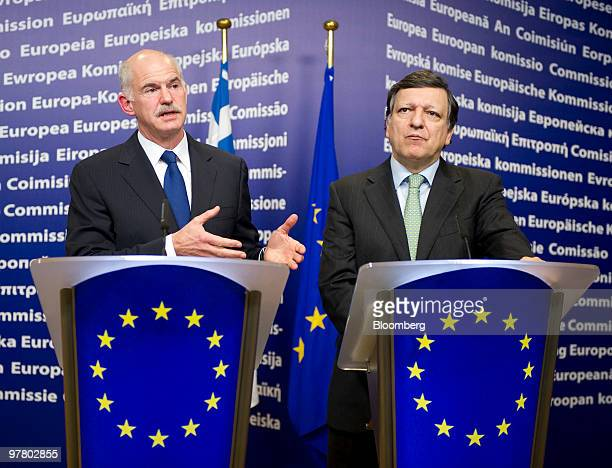 George Papandreou Greece's prime minister left and Jose Manuel Barroso president of the European Commission hold a news conference at the European...