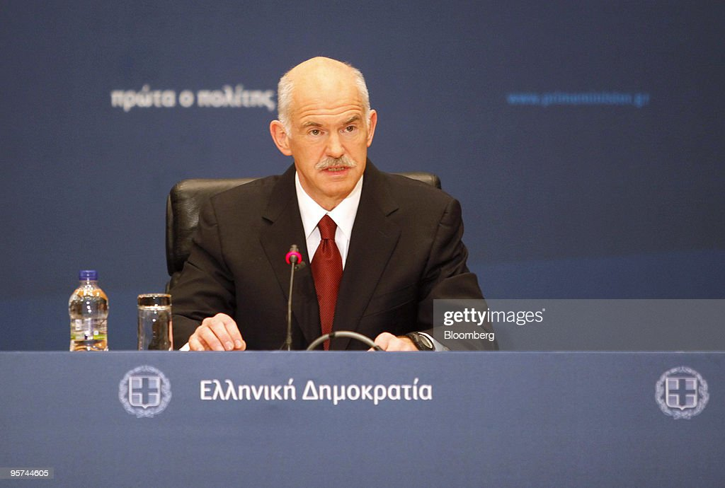 George Papandreou, Greece's prime minister, speaks at a press conference in Athens, Greece, on Wednesday, Jan. 13, 2010. Greece will not leave the euro or seek aid from the International Monetary Fund to reduce the European Union's biggest budget deficit, Papandreou said. Photographer: Kostas Tsironis/Bloomberg via Getty Images