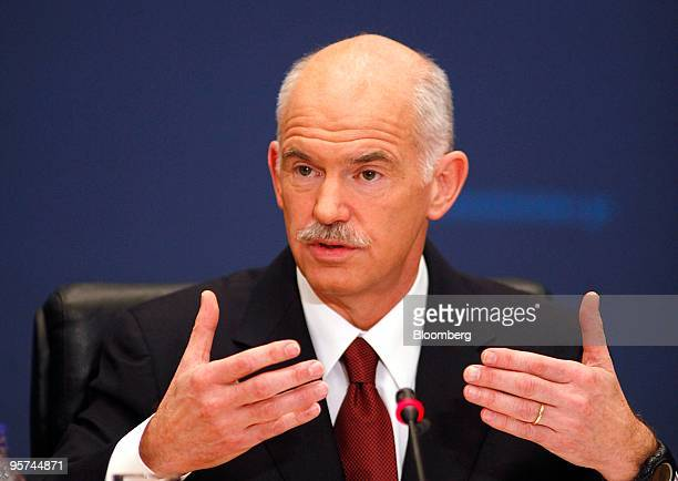George Papandreou Greece's prime minister speaks at a press conference in Athens Greece on Wednesday Jan 13 2010 Greece will not leave the euro or...