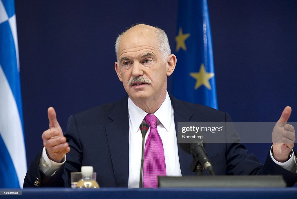 George Papandreou, Greece's prime minister, speaks at a press conference following the European Union Summit in Brussels, Belgium, on Friday, March 26, 2010. French President Nicolas Sarkozy capped a week of reversals with his acceptance of German demands on a contingency plan to aid Greece. Photographer: Jock Fistick/Bloomberg via Getty Images