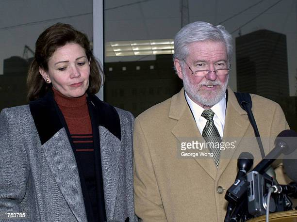 George Parnham defense attorney for Clara Harris speaks to the media after the first day of testimony January 30 2003 in Houston Texas Harris is...