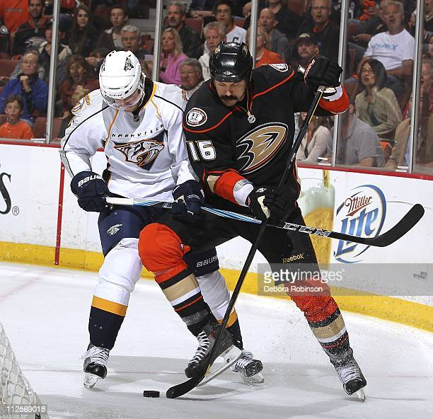 George Parros of the Anaheim Ducks battles against Jonathon Blum of the Nashville Predators in Game Two of the Western Conference Quarterfinals...