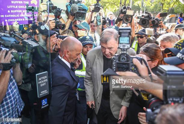 George Pell arrives at Melbourne County Court on February 27 2019 in Melbourne Australia Pell once the third most powerful man in the Vatican and...