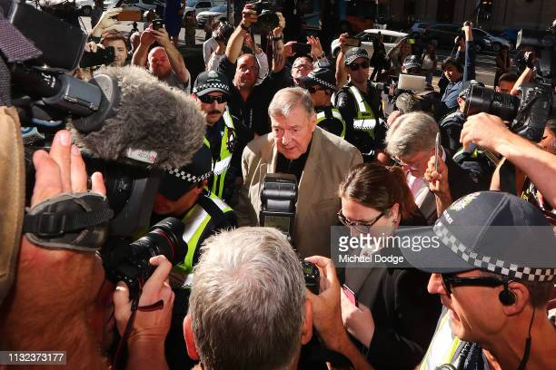 George Pell arrives at Melbourne County Court on February 27, 2019 in Melbourne, Australia. Pell, once the third most powerful man in the Vatican and...