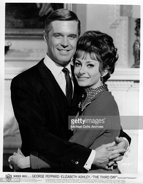 George Peppard as Steve Mallory and Elizabeth Ashley as Alexandria Mallory pose for the Warner Bros movie The Third Day circa 1965
