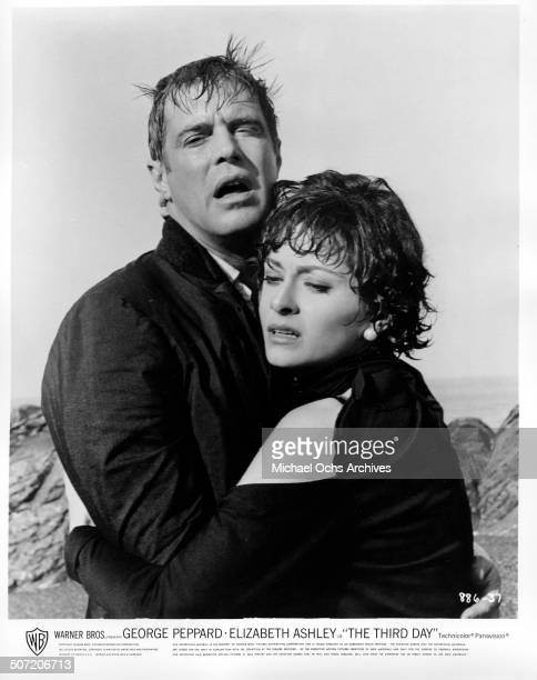George Peppard embraces Elizabeth Ashley after she is almost murdered in a scene from the Warner Bros movie The Third Day circa 1965