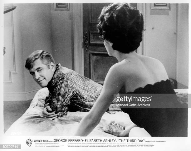George Peppard suffering amnesia learns Elizabeth Ashley is his wife in a scene from the Warner Bros movie The Third Day circa 1965