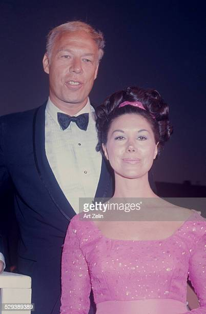 George Peppard with his wife at a formal event; circa 1970; New York.