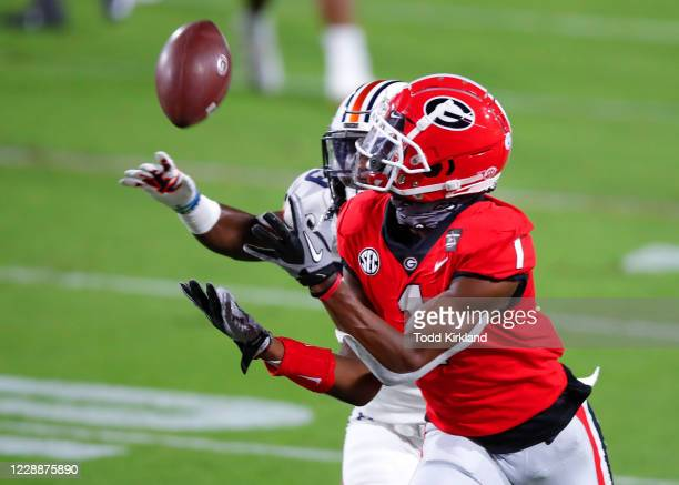 George Pickens of the Georgia Bulldogs beats Roger McCreary of the Auburn Tigers for a touchdown during the second quarter of a game against the...