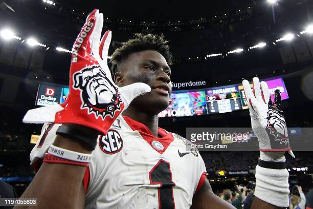 George Pickens of the Georgia Bulldogs celebrates after defeating the Baylor Bears 2614 during the Allstate Sugar Bowl at Mercedes Benz Superdome on...