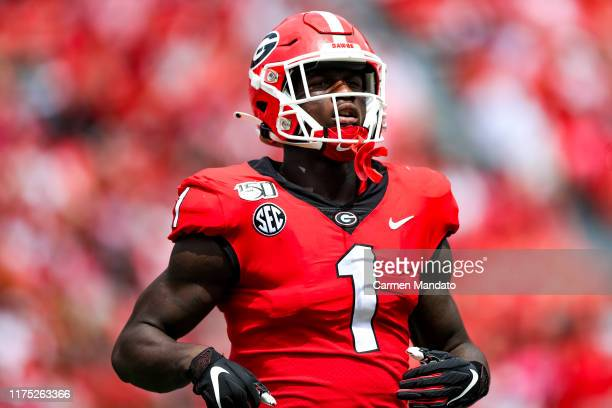 George Pickens of the Georgia Bulldogs looks on during the game against the Arkansas State Red Wolves at Sanford Stadium on September 14 2019 in...