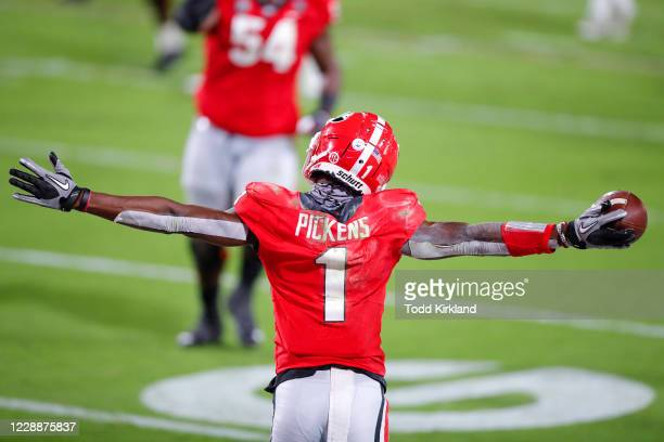 George Pickens of the Georgia Bulldogs reacts after a touchdown during the second quarter of a game against the Auburn Tigers at Sanford Stadium on...