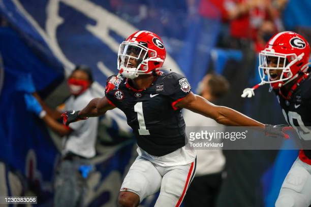 George Pickens of the Georgia Bulldogs reacts after a touchdown during the first half of the Chick-fil-A Peach Bowl against the Cincinnati Bearcats...