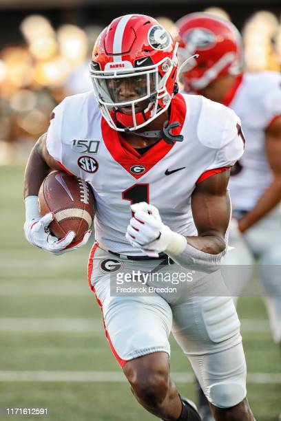 George Pickens of the Georgia Bulldogs warms up prior to a game against the Vanderbilt Commodores at Vanderbilt Stadium on August 31 2019 in...