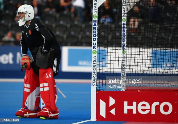 George Pinner of England during The Men's Hockey World League 2017 Group A match between England and Chinaat The Lee Valley Hockey and Tennis Centre...