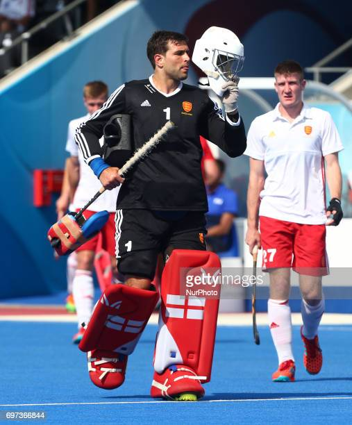 George Pinner of England during The Men's Hockey World League SemiFinal 2017 Group A match between England and Malaysia The Lee Valley Hockey and...