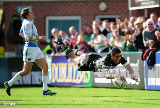 George Pisi of Northampton Saints scores a try during the Heineken Cup Round 1 match between Northampton Saints and Glasgow Warriors at Franklin's...