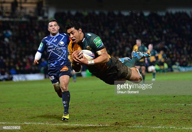George Pisi of Northampton Saints scores the only try during the Heineken Cup Pool 1 Round 6 match between Northampton Saints and Castres Olympique...