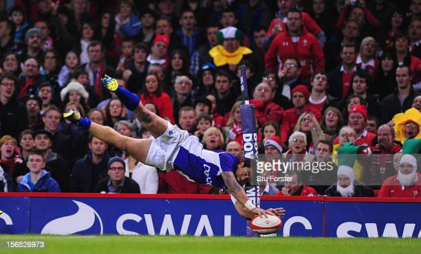 George Pisi of Somoa scores in the corner during the International Match between Wales and Samoa at Millennium Stadium on November 16 2012 in Cardiff...