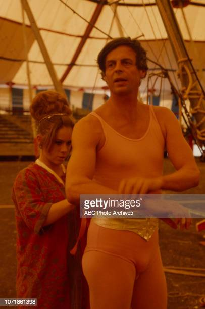 George Plimpton and circus performer appearing in 'Plimpton! The Man on the Flying Trapeze'.