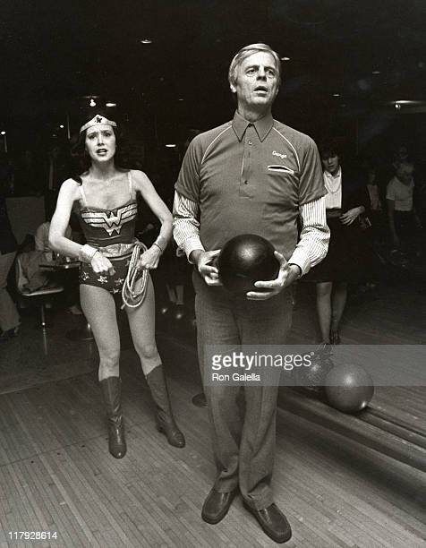 George Plimpton & Debra Luce during Writers Community Benefit for Young Writers at Mid-City Bowling Lanes in New York City, NY, United States.