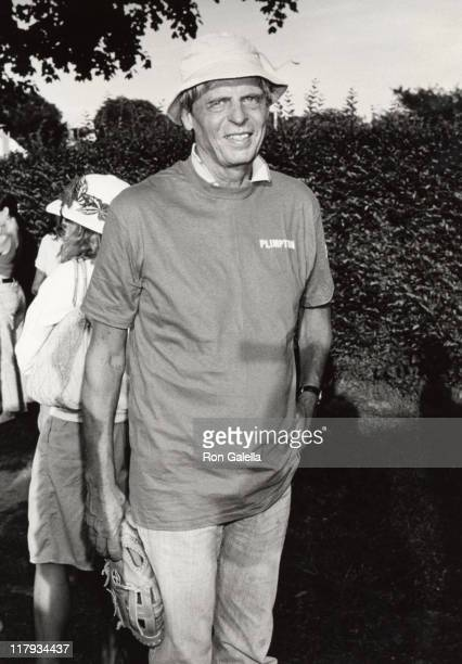 George Plimpton during Artists-Writers Softball Game in East Hampton, NY, United States.