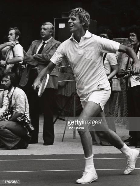 George Plimpton during RFK Pro-Celebrity Tennis Tournament Promotions at Seagram's Plaza in New York City, NY, United States.