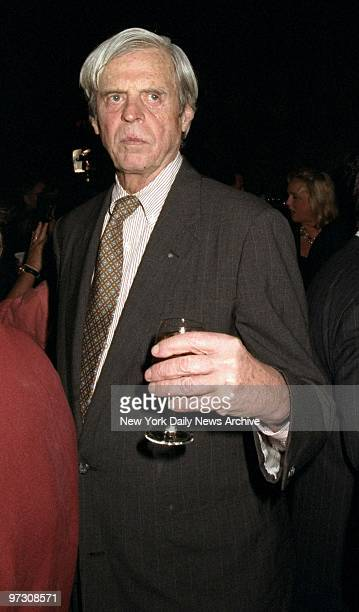 George Plimpton makes his way through the crowd during a book party at The Four Seasons for the Liz Tilberis autobiography No Time To Die