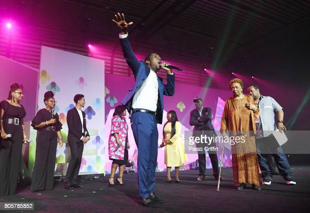 George Potts Young performs onstage for Cissy Houston during a tribute at the 2017 ESSENCE Festival presented by CocaCola at Ernest N Morial...