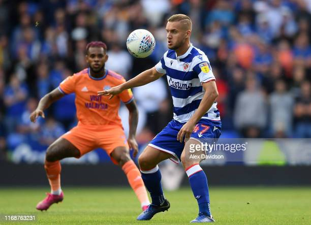 George Puscas of Reading controls the ball during the Sky Bet Championship match between Reading and Cardiff City at Madejski Stadium on August 18,...