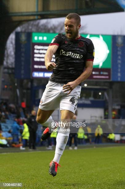 George Puscas of Reading FC celebrates after scoring his team's second goal during the Sky Bet Championship match between Sheffield Wednesday and...