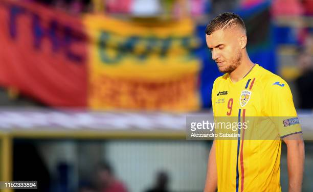 George Puscas of Romania shows his dejection at the end the 2019 UEFA U21 SemiFinal match between Germany and Romania at Stadio Renato Dall'Ara on...
