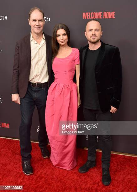"George Ratliff, Emily Ratajkowski, and Aaron Paul arrive at the ""Welcome Home"" Premiere at The London West Hollywood on November 4, 2018 in West..."