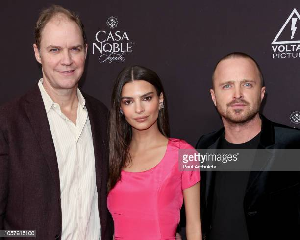"George Ratliff, Emily Ratajkowski and Aaron Paul attend the ""Welcome Home"" premiere at The London West Hollywood on November 4, 2018 in West..."
