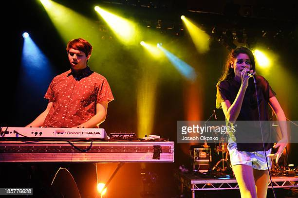 George Reid and Aluna Francis of AlunaGeorge performs at Shepherds Bush Empire on October 24 2013 in London England