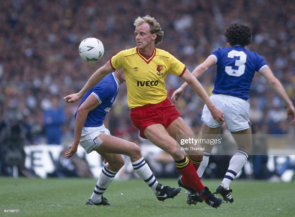George Reilly in action for Watford against Everton in the FA Cup Final at Wembley Stadium, May 19th 1984. Everton won 2-0.