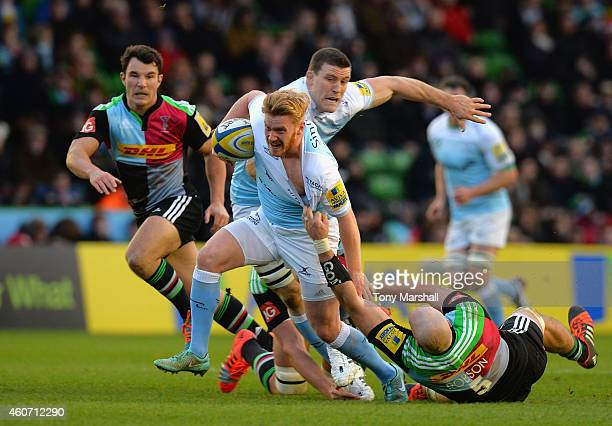 George Robson of Harlequins tackles Tom Catterick of Newcastle Falcons during the Aviva Premiership match between Harlequins and Newcastle Falcons at...