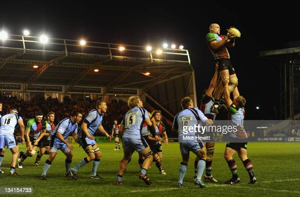 George Robson of Harlequins wins a lineoutduring the Aviva Premiership match between Harlequins and Newcastle Falcons at Twickenham Stoop on November...