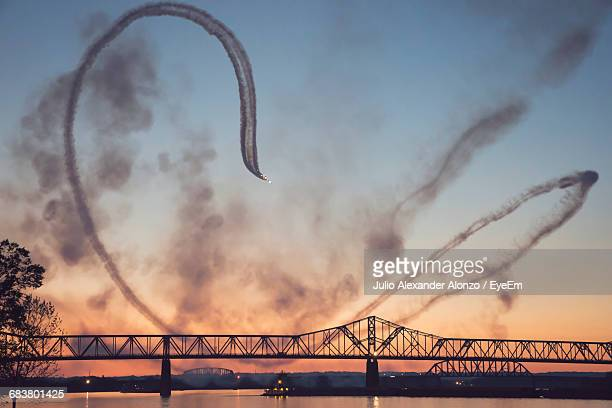 George Rogers Clark Memorial Bridge Over Ohio River Against Sky During Sunset