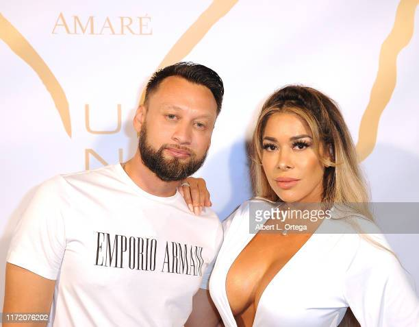 George Rojas and Olga Loera attend Amare Magazine's 10th Issue Release Party held at Sky Bar Mondrian Hotel on September 1 2019 in West Hollywood...