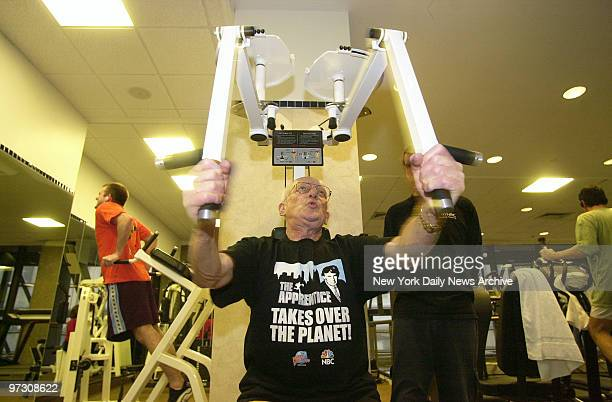 George Ross one of Donald Trump's two feared henchmen on The Apprentice works out on the pectoral fly machine at the New York Health and Racquet Club...