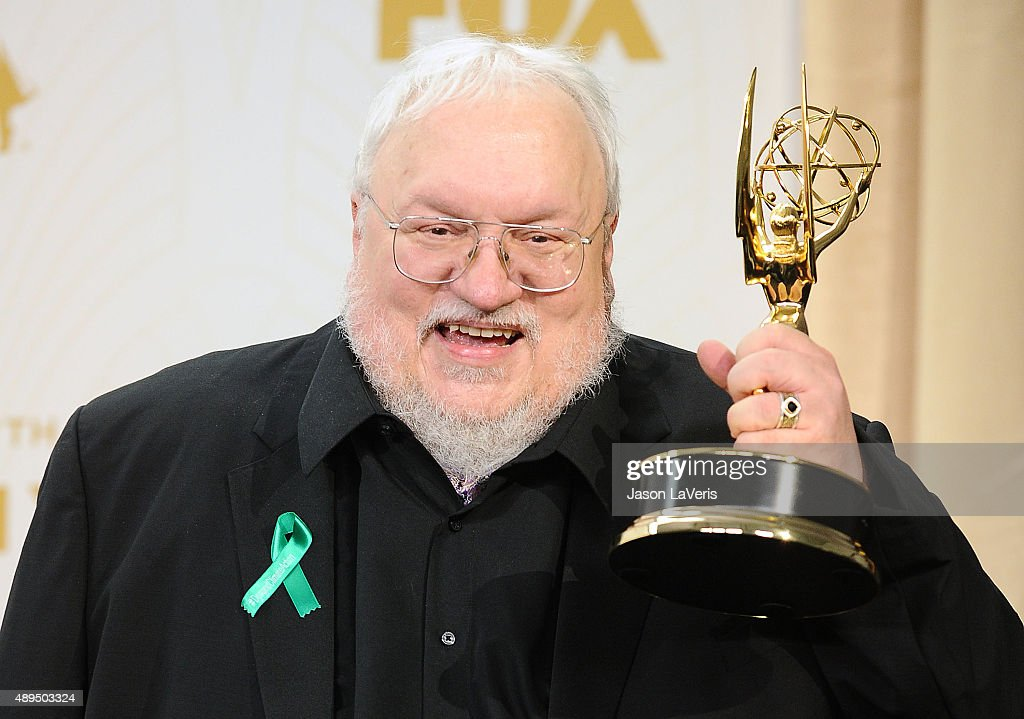 George R.R. Martin poses in the press room at the 67th annual Primetime Emmy Awards at Microsoft Theater on September 20, 2015 in Los Angeles, California.